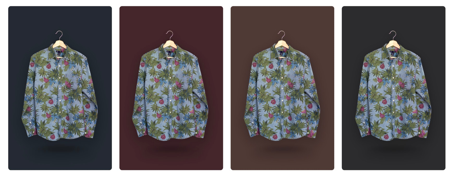 example of a shirt product photo with different dark colored backgrounds