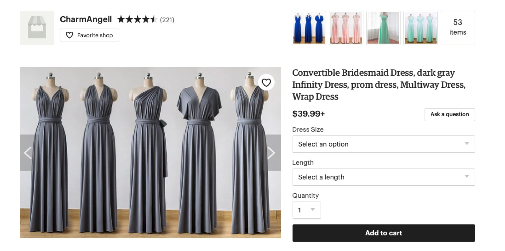 Example of a clothing dress forms on Etsy