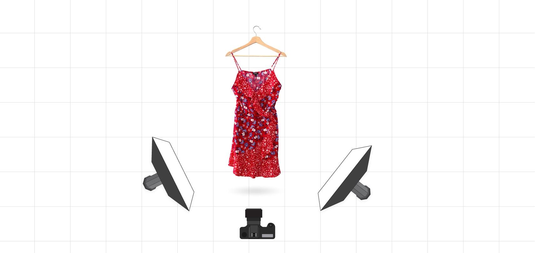 Our lighting setup for a dress on a hanger
