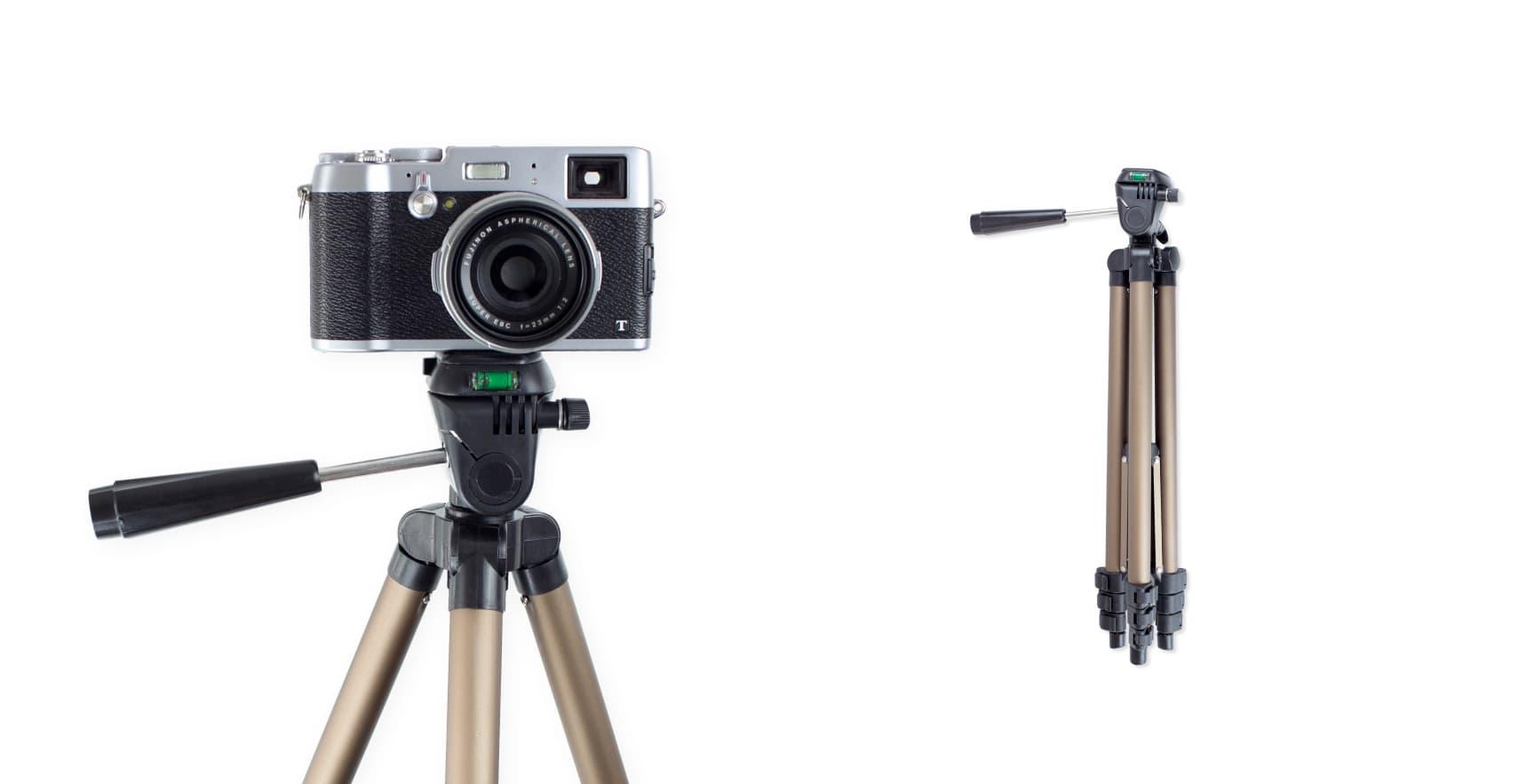 A cheap tripod with a camera