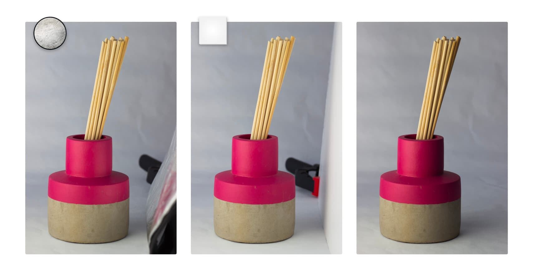 Example of a product photography lit with reflector, foam core, and nothing.