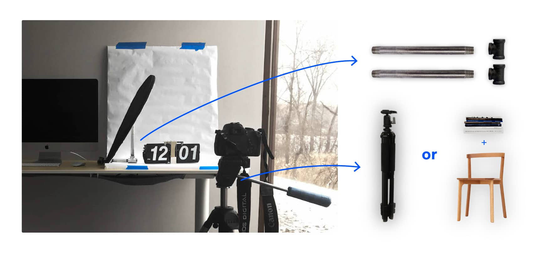 Our photo setup with a tripod, and a propped up reflector