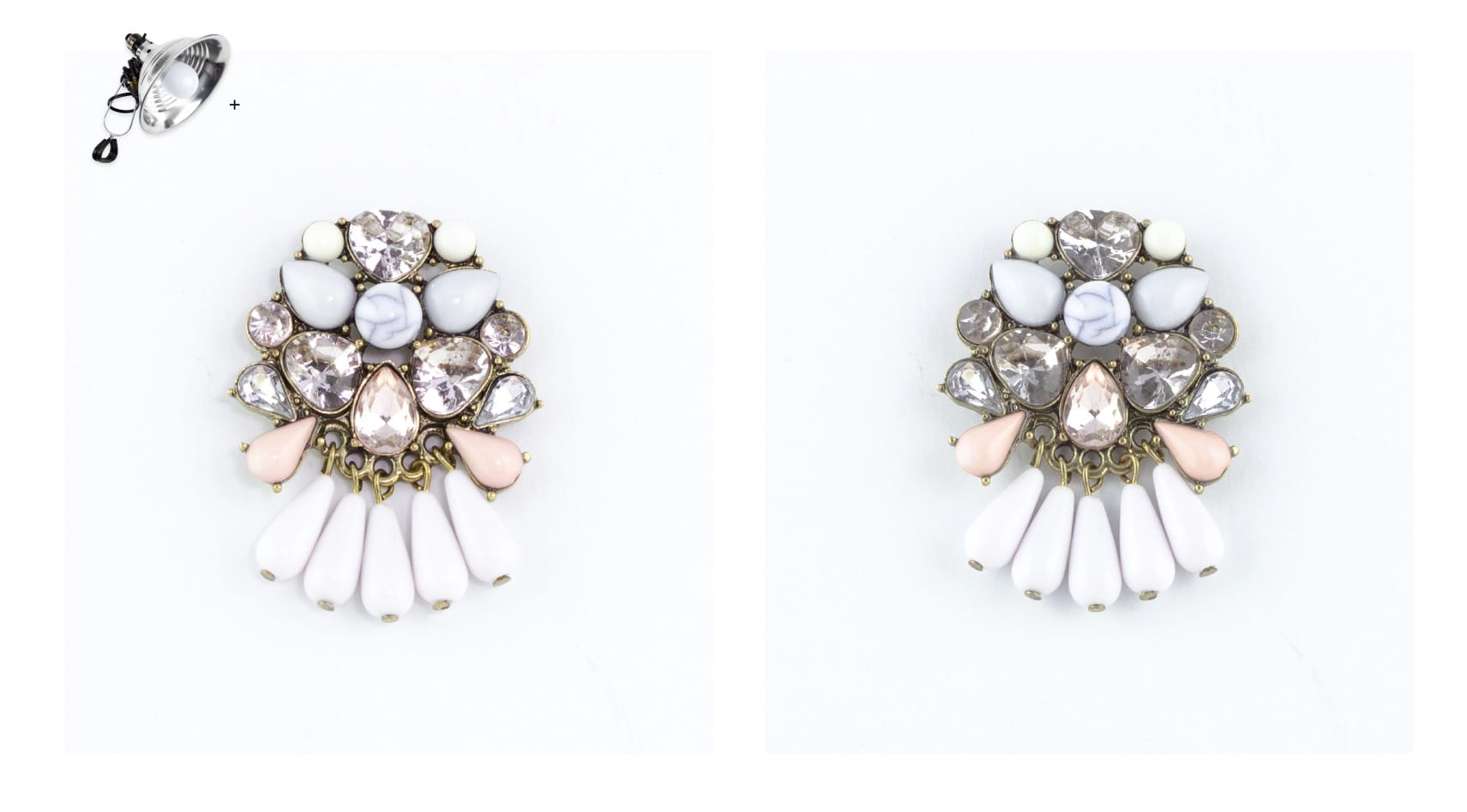 lighting jewels on earrings with the use of a sparkle light