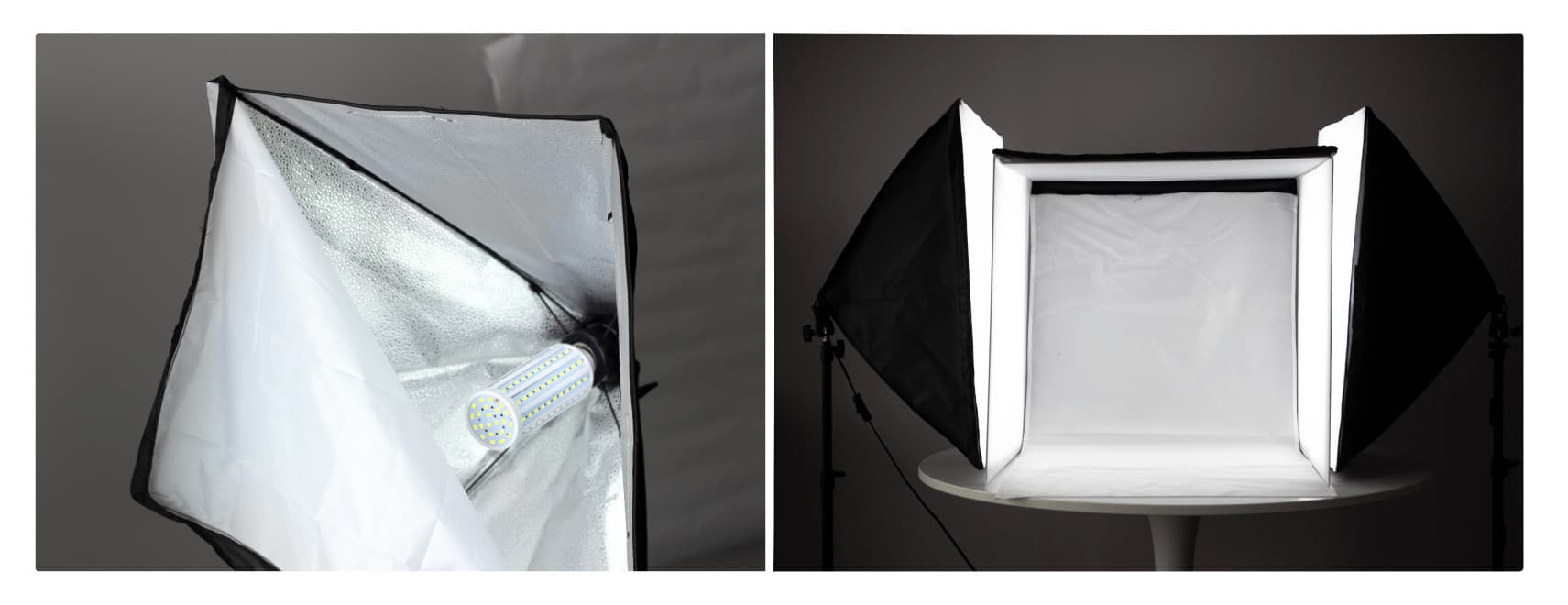Two softboxes with LED bulbs