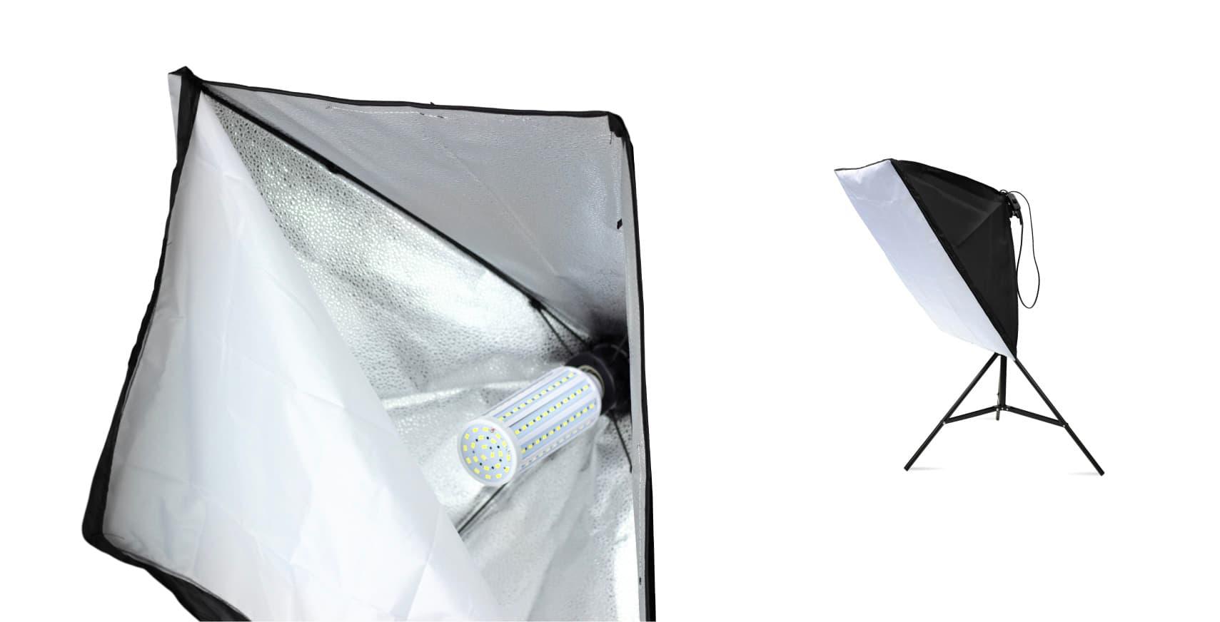 lighting softboxes with LED bulbs