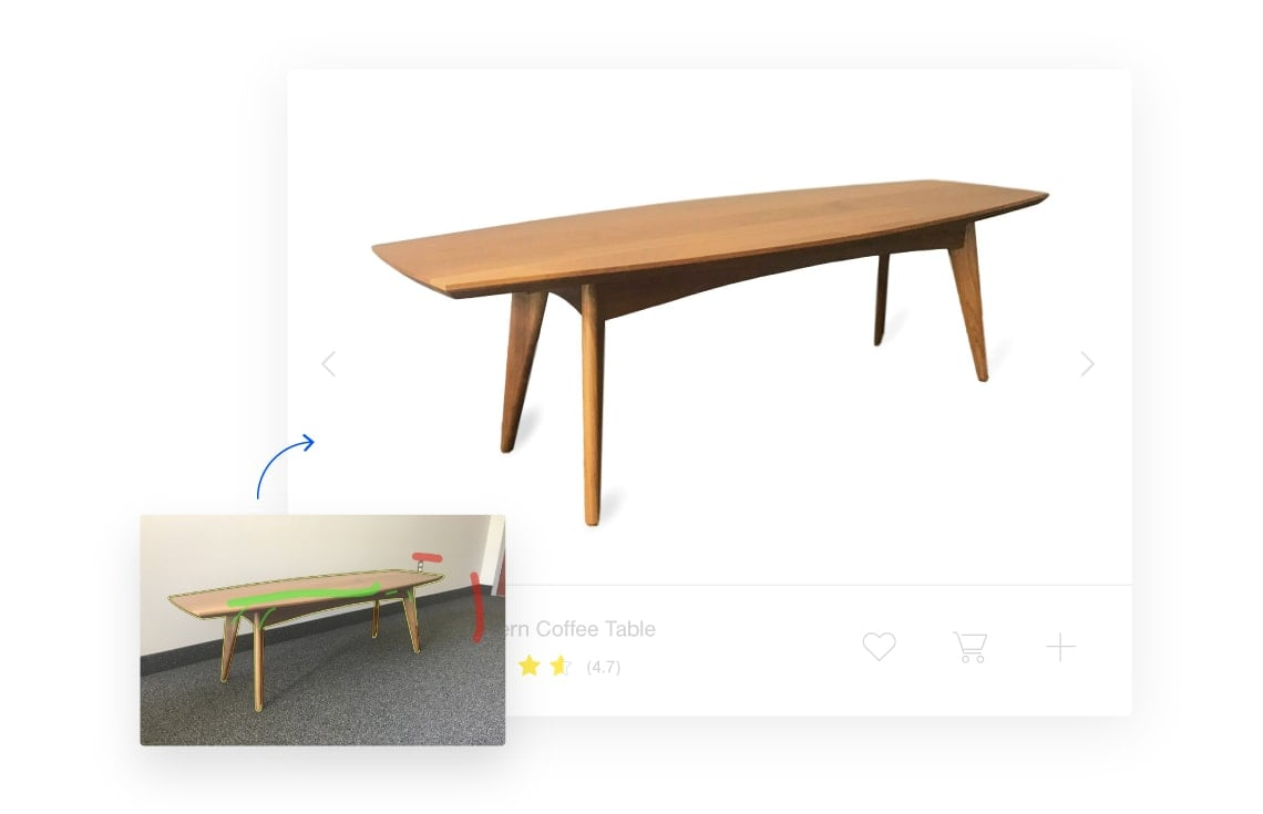 Before and after clipping a photo of a side table